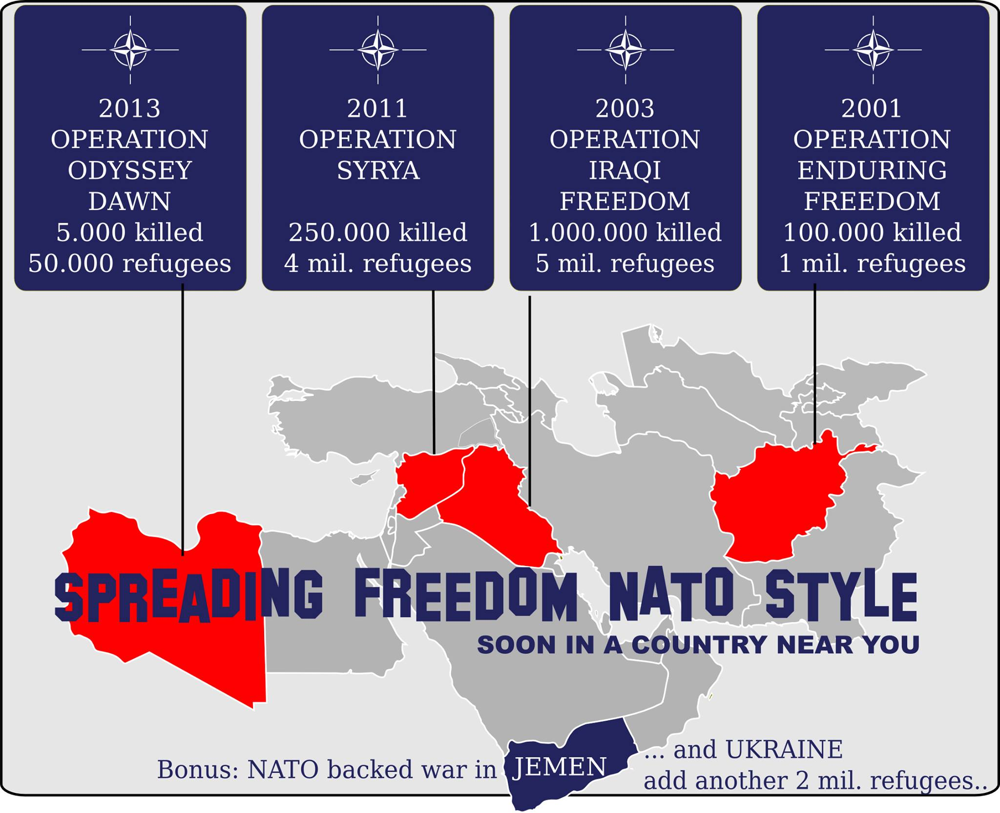 "NATO - The North American Terror Organization at your service. If you don't come to ""democracy"", we will bring DEMOCRAZY to you!"