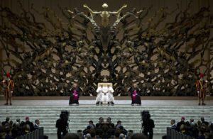 This monstrosity of a throne at the Vatican shows the rise of the false Jesus like a phoenix out of the abyss/coral/abyssian lines as a mermaid type figure. What's even weirder are the images you get when you mirror each half of the pic down the center...