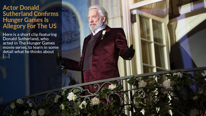 Donald Sutherland som spiller diktatoren i Hunger Games, gir klar melding til oss alle. Dette blir din fremtid om du ikke snart våkner opp og bidrar til å stoppe det!