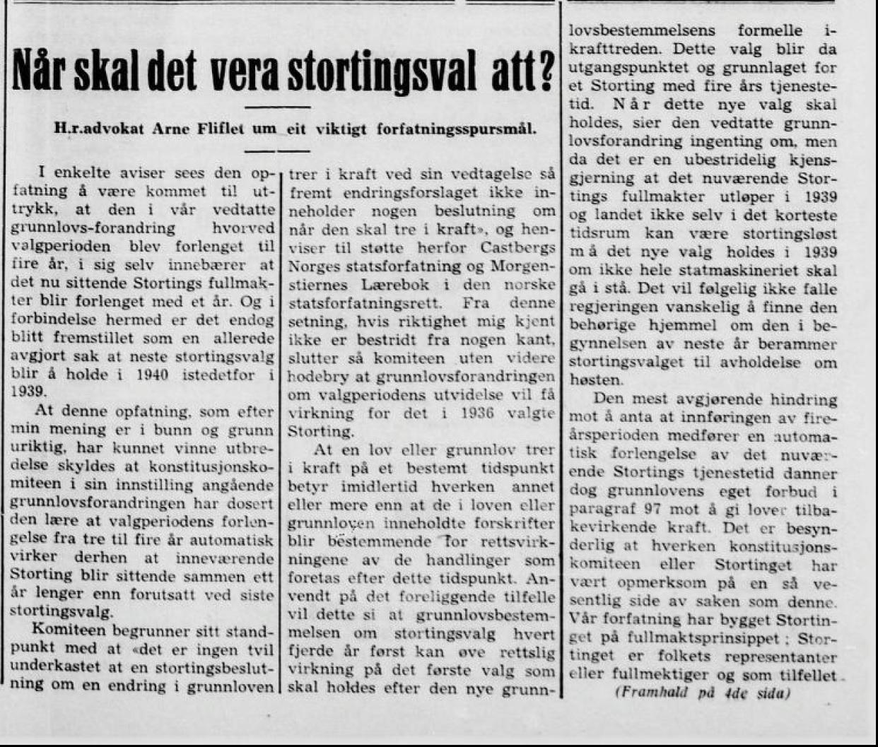 Fra førstesiden i Firda Folkeblad den 9. desember 1938