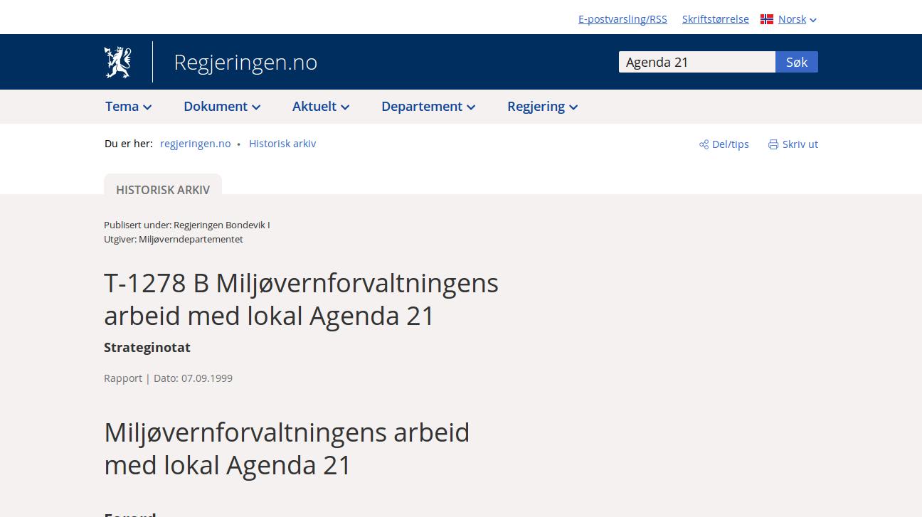 Strateginotat 1999: T-1278 B Miljøvernforvaltningens arbeid med lokal Agenda 21