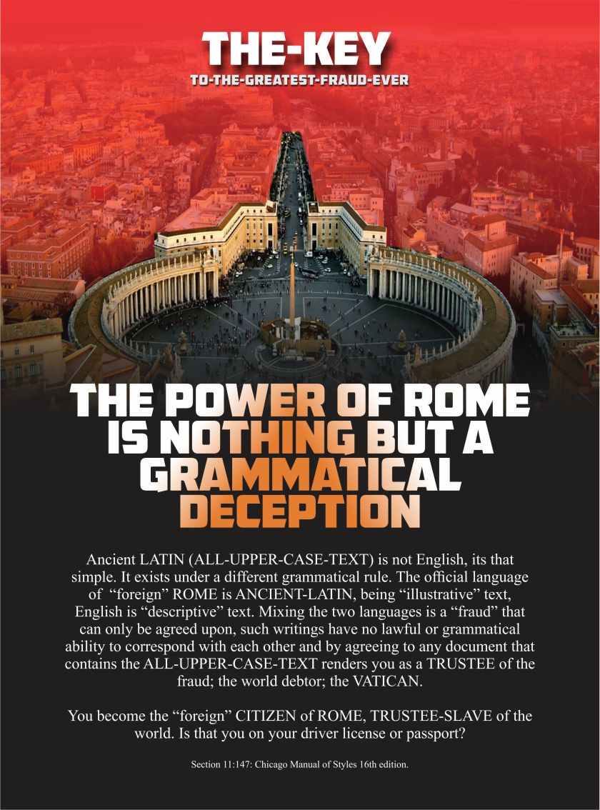 The power of Rome in relation to modern day governance, depends on the hidden grammatical rules of a foreign language usurped into the English language without the common man ever being aware of such a deceit.