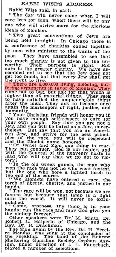 Den sionistiske uttalelse som kick-startet det tyvende århundredes HoloHoax