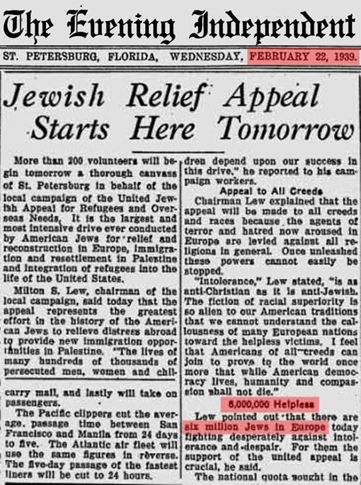 "Over half a year before the war began Jews were already squawking about ""6,000,000 helpless victims of persecution."""