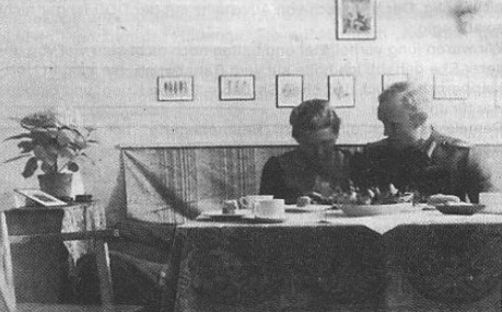 """Author on """"second honeymoon,"""" celebrated in camp, with table-setting lovingly prepared by Olga."""