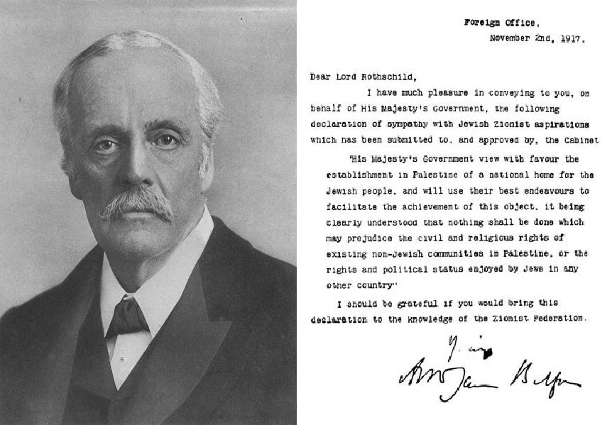 Balfour Erklæringen. Britain becomes a deadly pawn of Zionism.