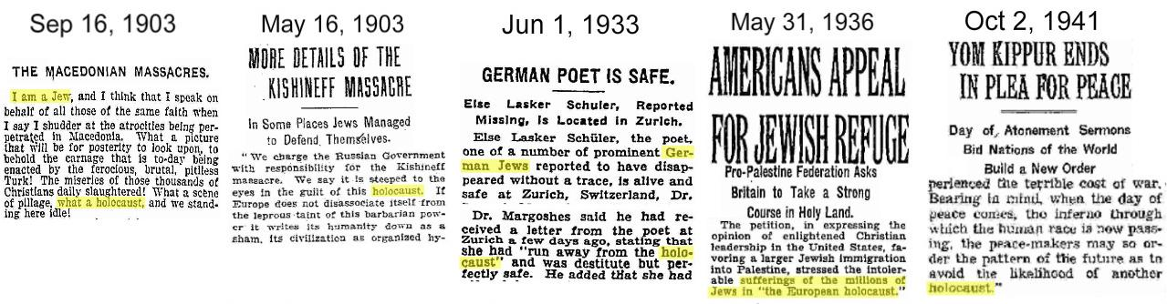 Five early Jew holohoaxes. Click to enlarge.