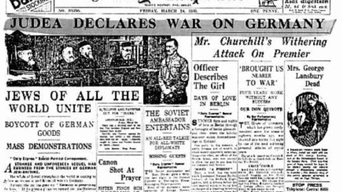 """Avisa Daily Express: """"Det internasjonale jøderi"""" (sionistene) erklærer krig mot Tyskland i 1933"""