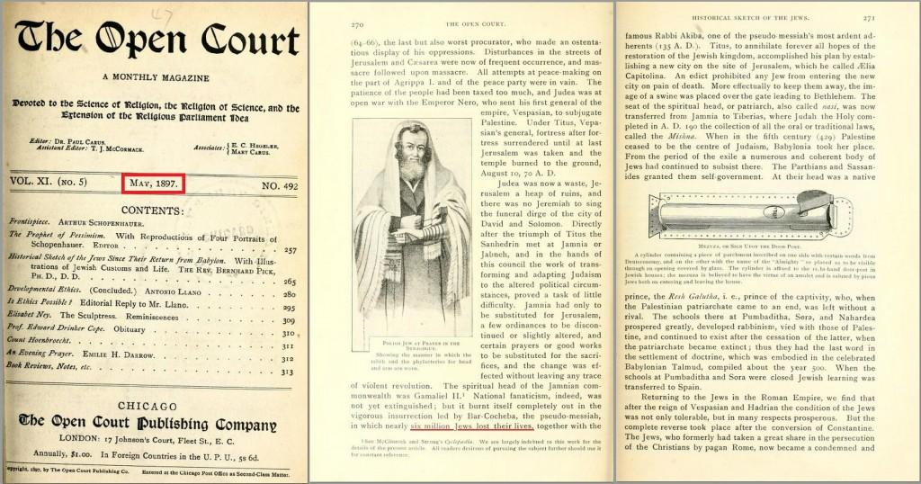 "This 1897 ""Science of Religion"" American magazine, claims nearly six million Jews were killed in the Bar Kokhba revolt 132-136 AD - (Klikk på bildet for å se det i full størrelse)"