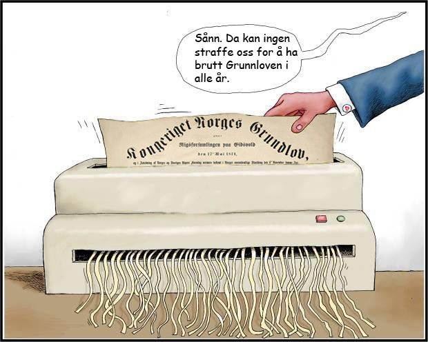 Høyre, Arbeiderpartiet og Fremskrittspartiet sin behandling av Norges Grunnlov